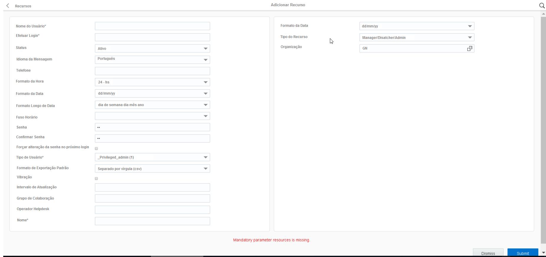"""O erro """"Recursos de parâmetros obrigatórios estão ausentes"""" aparece na parte inferior da página Recursos"""