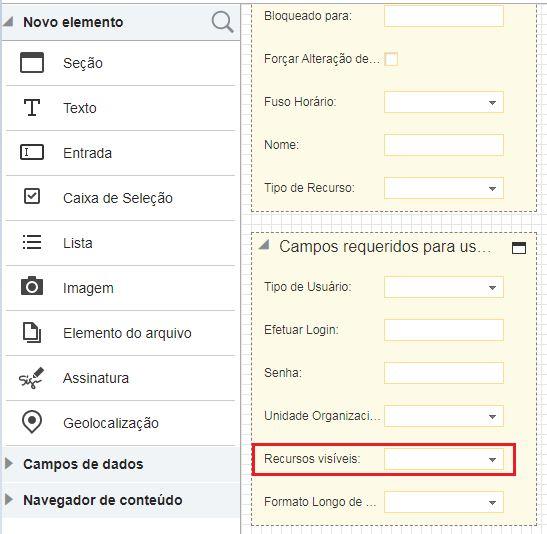 Editor de Formulário Visual> selecione usuário> Editar Recurso / Usuário> Campos Necessários do Usuário> preencha o campo Recurso Visível