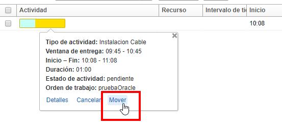 Vista de Lista > Indicación de Actividad > Hacer click en la acción Mover