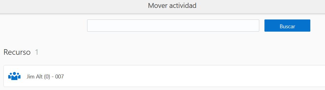 Pantalla Mover Actividad en los Detalles de actividad. No se puede seleccionar fecha. Comportamiento esperado de OFS.