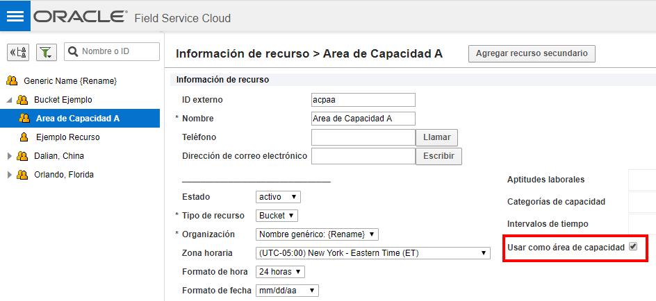 Pantalla 'Información de recurso'. Atributo 'Usar como área de capacidad' está seleccionada en el bucket  'Área de Capacidad A'.