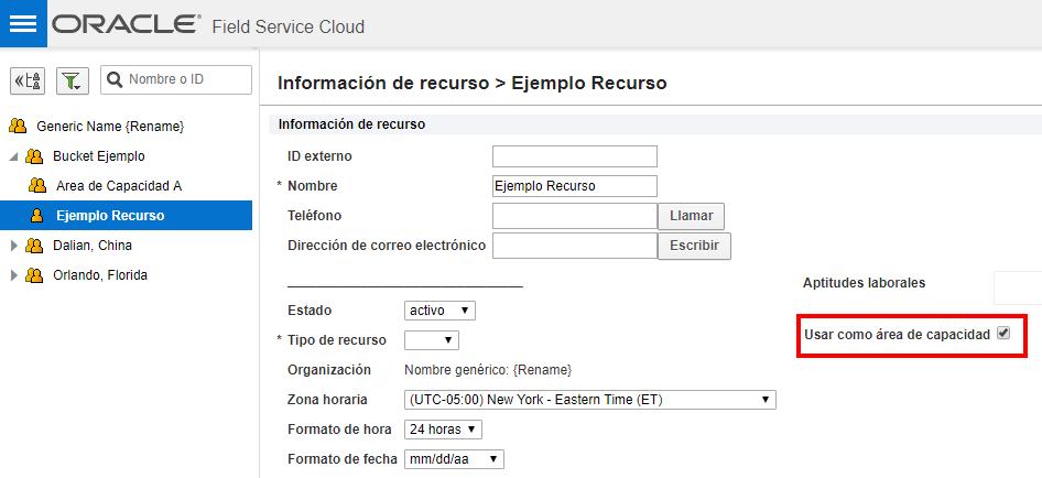 Pantalla 'Información de recurso'. Atributo 'Usar como área de capacidad' está seleccionada en el recurso técnico 'Ejemplo Recurso'
