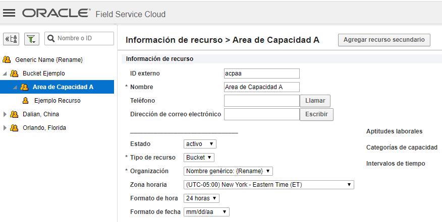 Pantalla 'Información de recurso'. Atributo 'Usar como área de capacidad' no disponível para el bucket Área de Capacidad A. despues que se mueve el recurso técnico 'Ejemplo Recurso' al bucket 'Área de Capacidad A'.