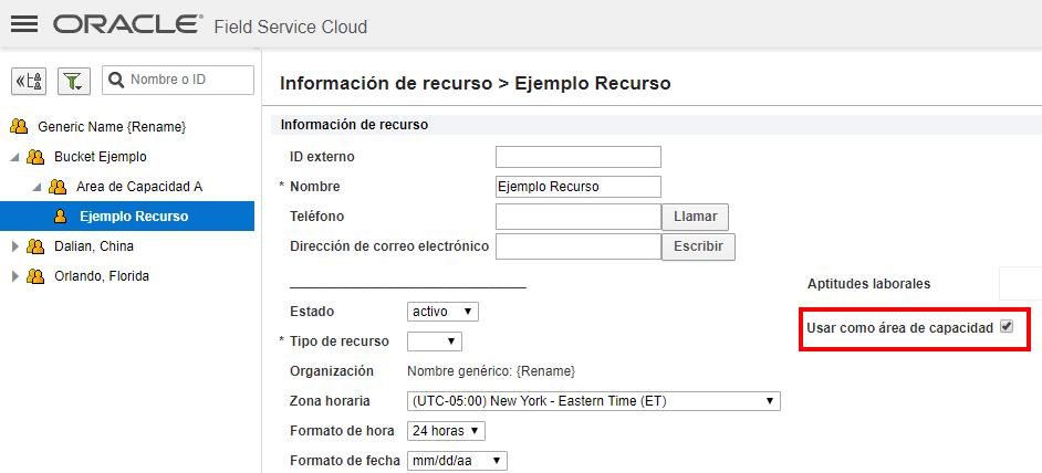 Pantalla 'Información de recurso'. Atributo 'Usar como área de capacidad' sigue seleccionado en recurso técnico 'Ejemplo Recurso'