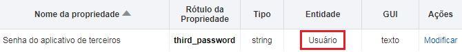 Configuração > Propriedades. Propriedade 'Senha do aplicativo de terceiros' é exibida.