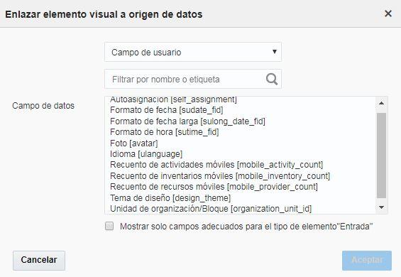 Configuración > Tipos de usuario > Configuración de pantalla > Pantallas de aplicación > Opciones de usuario. La propiedad 'Contraseña para la aplicación de terceros' no está disponíble