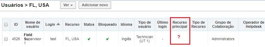 Na configuração do usuário não o campo Recurso Principal está vazio.