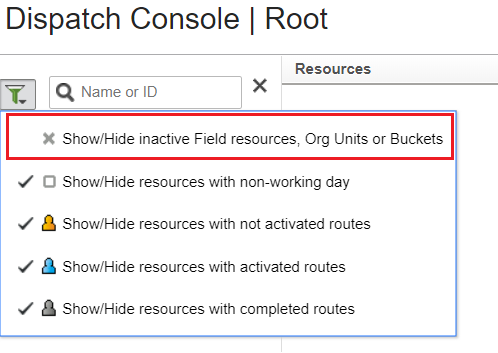 Click the filter icon on the top of Resource Tree. Select option 'Show/Hide inactive Field Resources', Org Units or Buckets'.