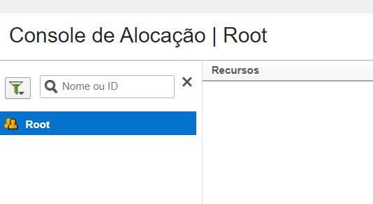 Console de Alocação. Somente o Recurso raíz é exibido.