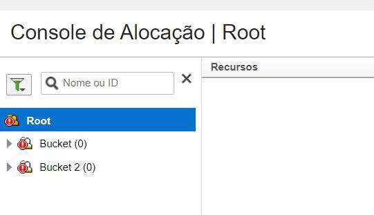 Console de Alocação. Árvore de Recursos está disponível.