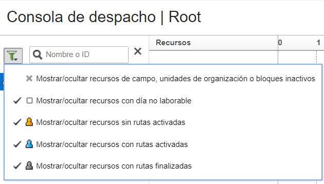 Haga clic en el icono de filtro sobre el Árbol de Recursos. Seleccione la opción 'Mostrar/Ocultar Recursos de Campo, Unidades de Organización oBloques Inactivos'.