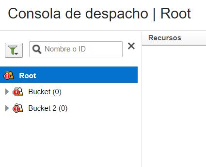 Consola de Despacho. Árbol de Recursos está disponible.