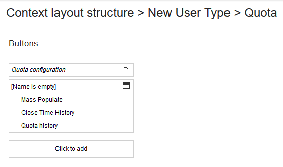 Mass Populate, Close Time History and Quota History are displayed inside a section
