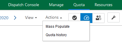 In Quota screen, Mass Populate and Quota History are now displayed under Actions drop-down menu