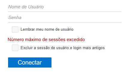 Aviso 'Número máximo de sessões excedido' exibido na página de login.