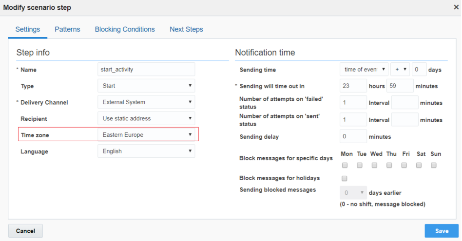 Configuration > Message Scenarios > Modify scenario steps. 'Time Zone' parameter is highlighted.