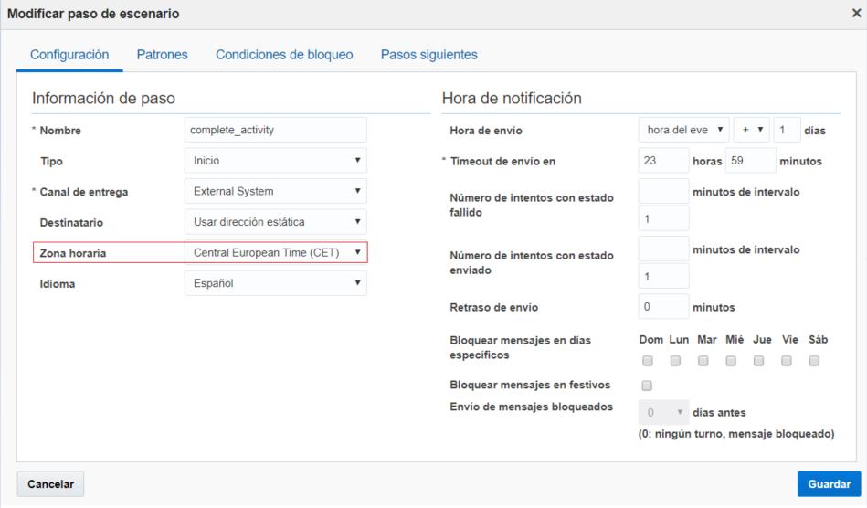 Configuración > Escenarios de mensajes > Modificar paso de escenario. El campo Zona horario está resaltado.