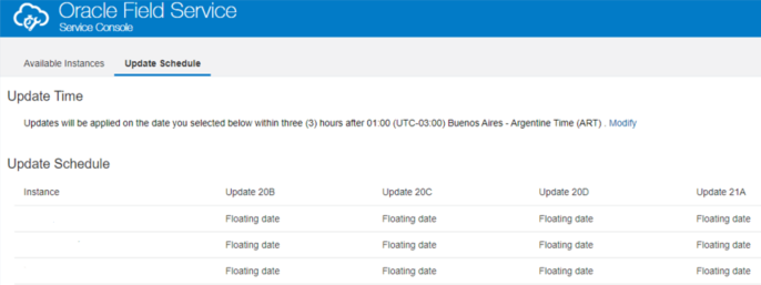 Cloud Portal > Field Service (OFS) Service Console > Update Schedule tab shows 'Floating Date' for Update 20B, Update 20C, Update 20D Update 21A columns.