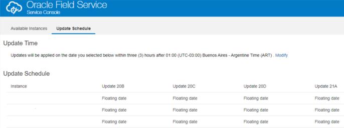 Cloud Portal > Field Service (OFS) Service Console > pestaña Update Schedule muestra 'Floating Date' para columnas Update 20B, Update 20C, Update 20D Update 21A
