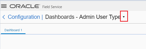 Configuration > Dashboards. Admin User Type is selected in the drop-down menu.