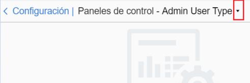 Configuración > Paneles de Control. El Tipo de Usuario Admin User Type está seleccionado en el menu despegable.