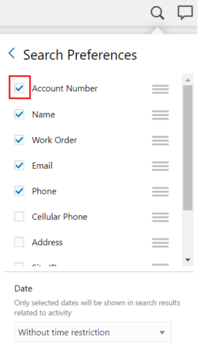 In Search Preferences, search criteria Account Number is highlighted.