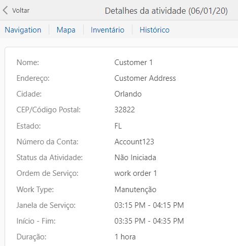 A tela dos detalhes da atividade mostra todas as propriedades listadas uma abaixo da outra.