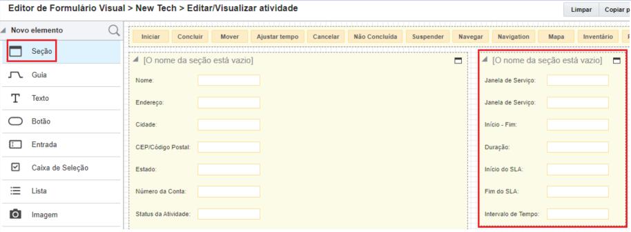 Editor Visual de Formulário mostra duas seções lado a lado com propriedades dentro de cada seção.