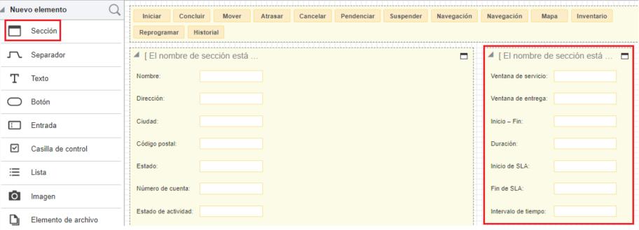 El Editor Visual de Formularios muestra dos secciones lado a lado comn propiedades dentro de cada sección.