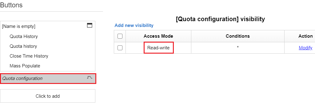 Configuration > User Types > Screen Configuration > Application screens > Quota screen context. Quota Configuration tab is highlighted. 'Read-write' is highlighted under Access Mode column.