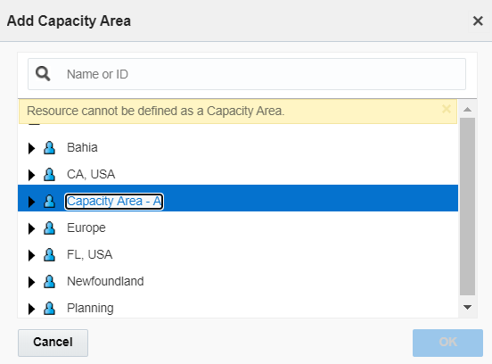 Warning 'Resource cannot be defined as a Capacity Area' is displayed in the 'Add Capacity Area screen'