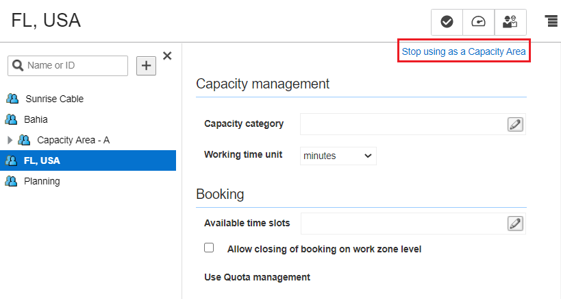 Quota > Configuration. FL,USA capacity area is selected in the Resource Tree. 'Stop using as a Capacity Area' option is highlighted.