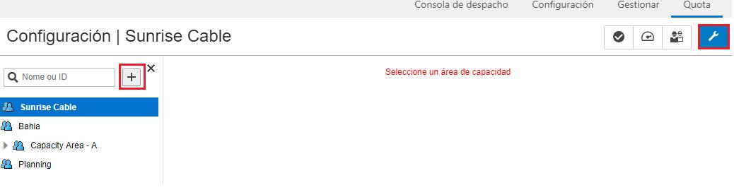 Cuota > Configuración. El signo '+' junto al cuadro de búsqueda del Árbol de Recursos está resaltado.