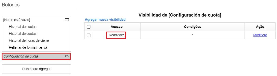 Configuración> Tipos de Usuario> Configuración de pantalla > Mobile >Cuota. La pestañaConfiguración de Cuota está destacada. Lectura y escritura está resaltado en la colugna 'Acceso'.