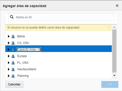 La advertencia 'El recurso no se puede definir como Área de Capacidad' se muestra en la pantalla Agregar Área de Capacidad.