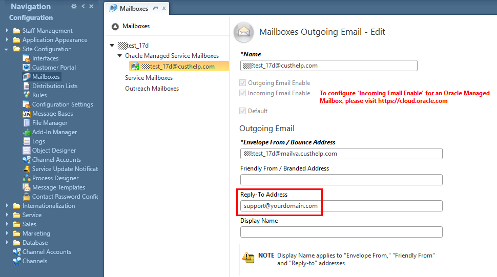 Set the Reply-To address field for the hosted mailbox to the SMTP forwarding account your IT group configured.