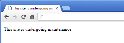 Default Splash page message: This site is undergoing maintenance.
