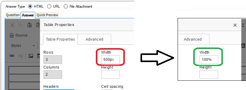 Edit Answer, answer field, Table Properties window, Width field, enter 100% versus 500px