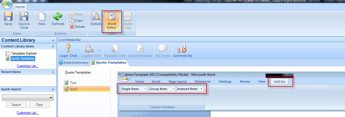 Select Word Editor from the Templates Editor to see options such as Single Items, Groups Items and Indexed Items.