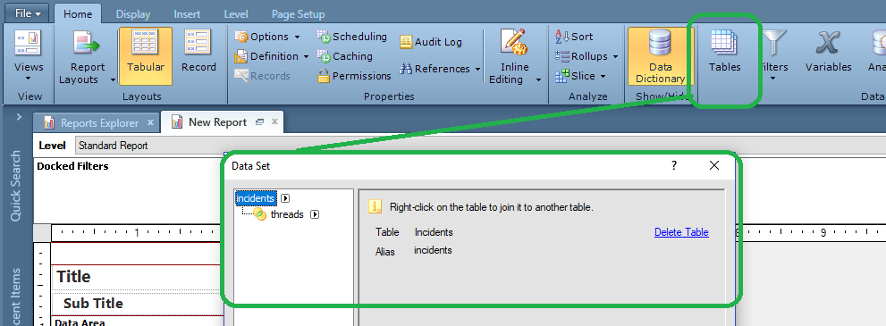 New Report > Home ribbon > select Table button > add and join tables in Data Set window