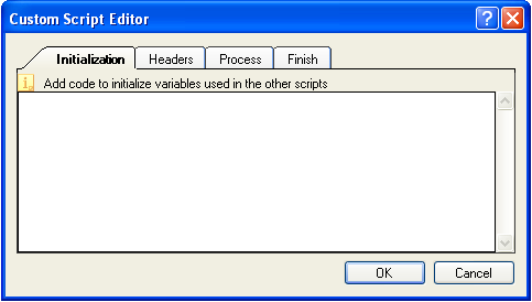 Click the Custom Scripts button to open the Custom Script editor.