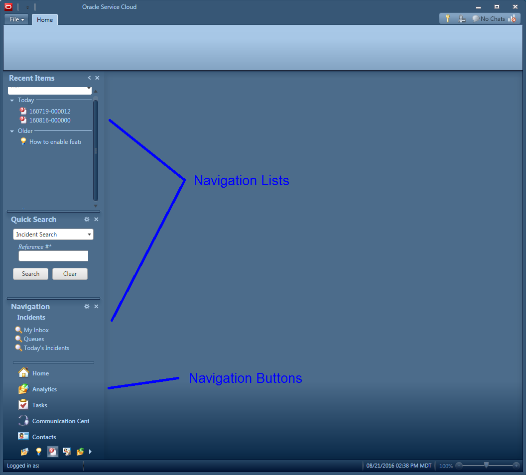 Navigation Lists and Buttons appear down the left side of the agent console.