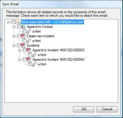 Sync Email Dialog Box