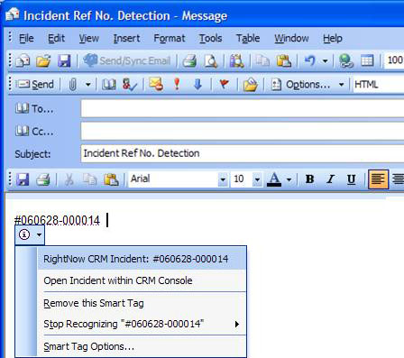 Incident reference numbers within Outlook emails are recognized and the agent can open the incident record directly from the email message
