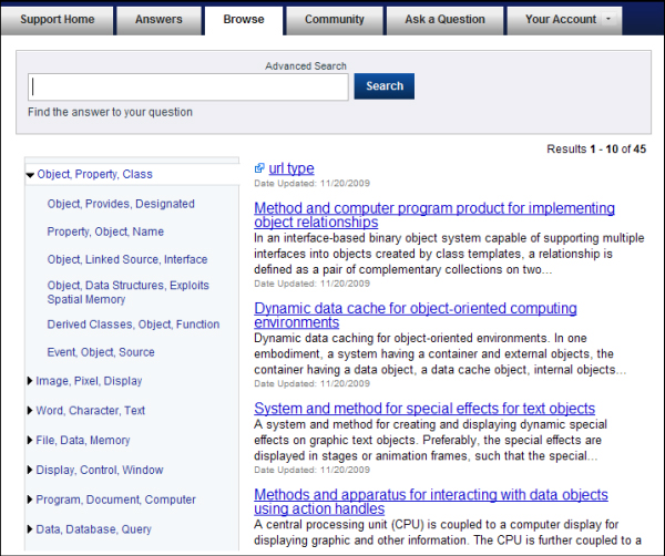 Topic Browse page