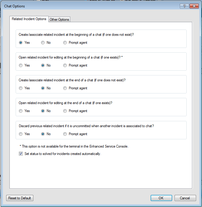 Chat Options list flexible options for closing chat/incidents