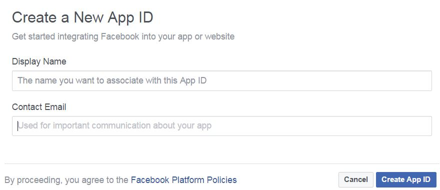 New App ID Fields include: Display Name and Contact Email