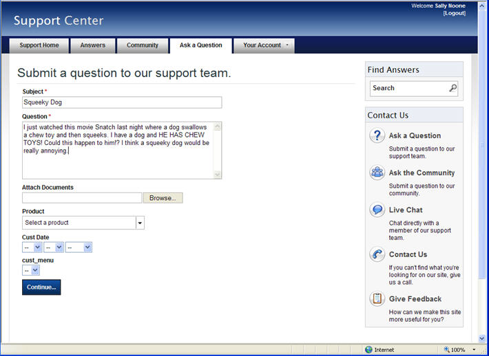 From Customer Portal page, Ask a Question page, the user will select Continue to start submitting their question.