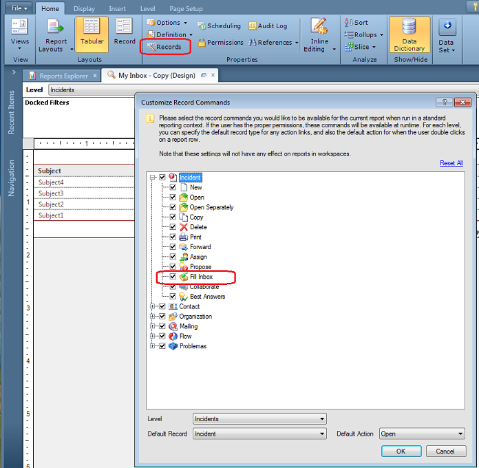 Edit report, from Home ribbon click Records, enabled Fill Inbox in the Incidents folder of command options