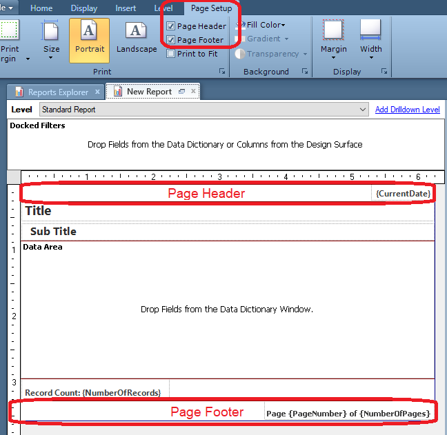 Edit report, select Page Setup tab in ribbon, options for Page Header and Page Footer appear in the Print section